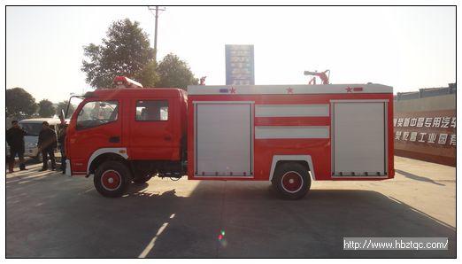 东风尖头汽油泡沫消防车整车结构紧凑,方便灵活,动力性能好,车速高