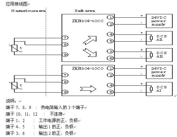 功能 接收危险场所的Pt100、Cu50、Cu100、Pt50或其他类型的热电阻信号,经过线性化处理,变换成与温度成线性的标准信号,输出给安全区域。隔离栅限制从本安端子窜入危险场所的能量,从而确保系统本安防爆。 防爆技术指标 防爆标志:[Exia]C 认证参数:(端子7/9、8/9间) Um=250V Uo=6.