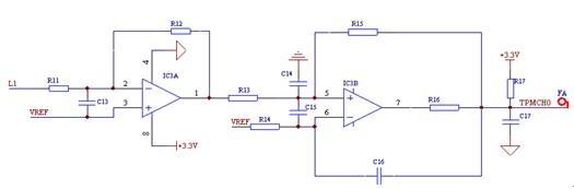 =1.2V,使交流信号的幅值大于零,便于A/D采样;在电路的输出端加入限压二极管,使输入电压限制在3.3V以下,能对A/D采样通道起到很好的保护作用。  图2 电流采样电路图 频率采样电路如图3所示。该电路采用MCP6002双运放进行两级放大,初级放大倍数较小,且在初级与次级之间进行滤波处理,次级运放将交流信号整形为方波信号,通过边沿触发方式捕捉,然后在CPU内部计算测量频率。  图3 频率采样电路图 1.