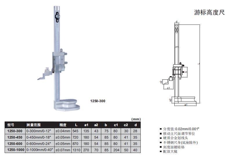 游标高度尺1250-300单柱英示高度规品牌
