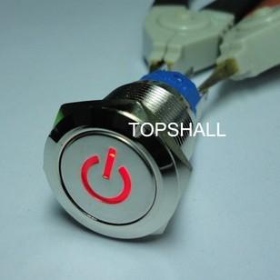 19mm带电源符号防水自锁金属按钮开关