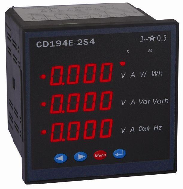 外型尺寸:120x120mm 开孔尺寸:112x112mm 特点:采用4位3排LED数码管显示,通过开关切换可显示常用的电量等参数。?在额定电压,参比频率及COS=1.0的条件下,负载工作电流为0.001In时,电能表能启动并连续计量电能。当施加115%的额定电压,电流回路断开无电流时,仪表无电能累加及脉冲输出。 技术参数: 1、输入信号: 电力网络:单相,三相三线,三相三线。 输入电压:额定值:AC 100V,200V,380V?